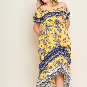 Umgee Plus Floral Print Off Shoulder Maxi Dress